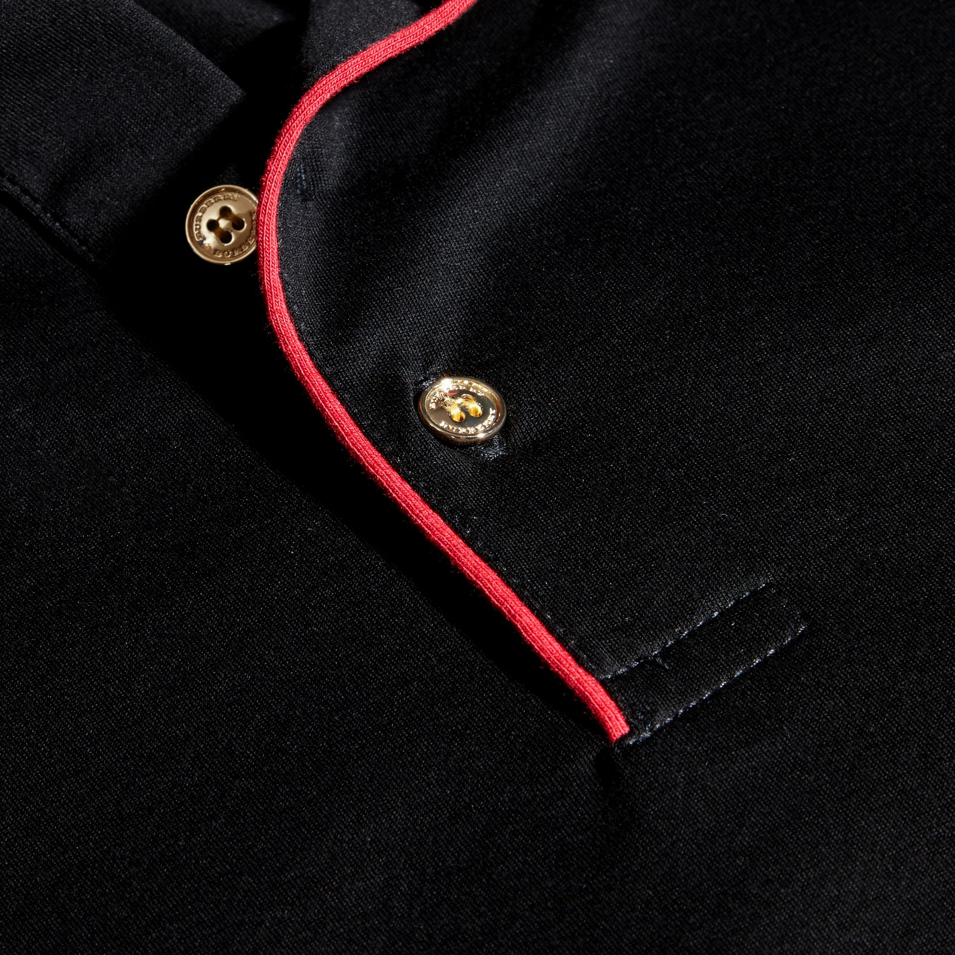 Black Regimental Cotton Polo Shirt Black - gallery image 2