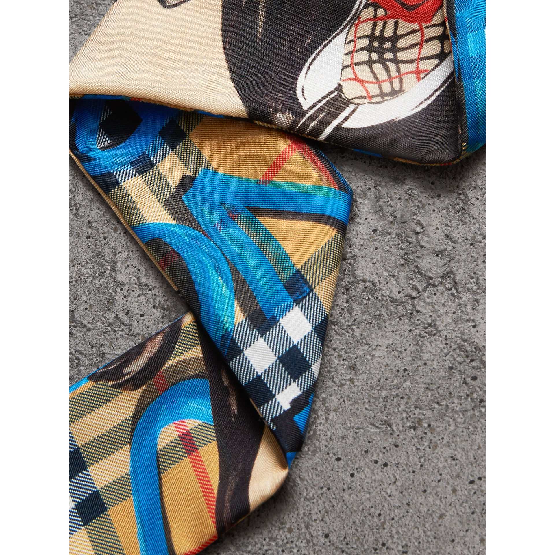 Graffiti Archive Scarf Print Silk Skinny Scarf in Bright Blue - Women | Burberry United Kingdom - gallery image 1
