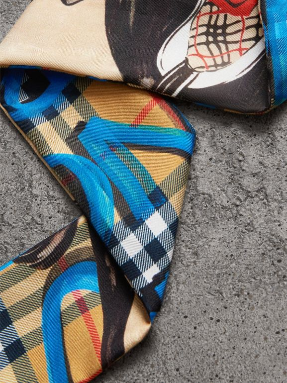 Graffiti Archive Scarf Print Silk Skinny Scarf in Bright Blue - Women | Burberry - cell image 1