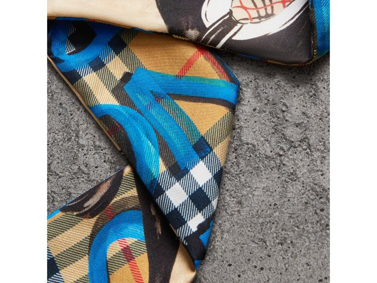 Graffiti Archive Scarf Print Silk Slim Scarf in Bright Blue - Women | Burberry - cell image 1