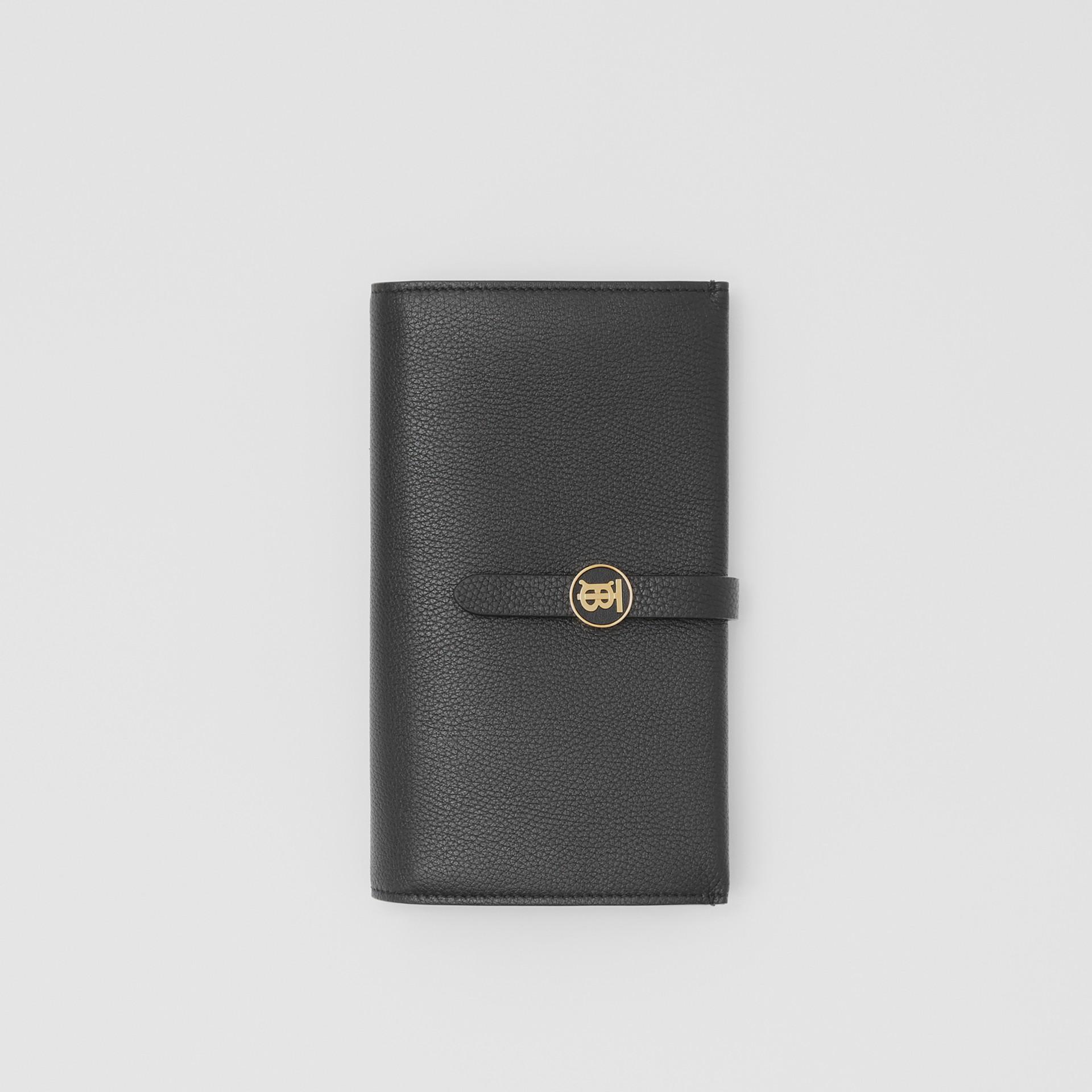 Monogram Motif Grainy Leather Folding Wallet in Black - Women | Burberry - gallery image 0