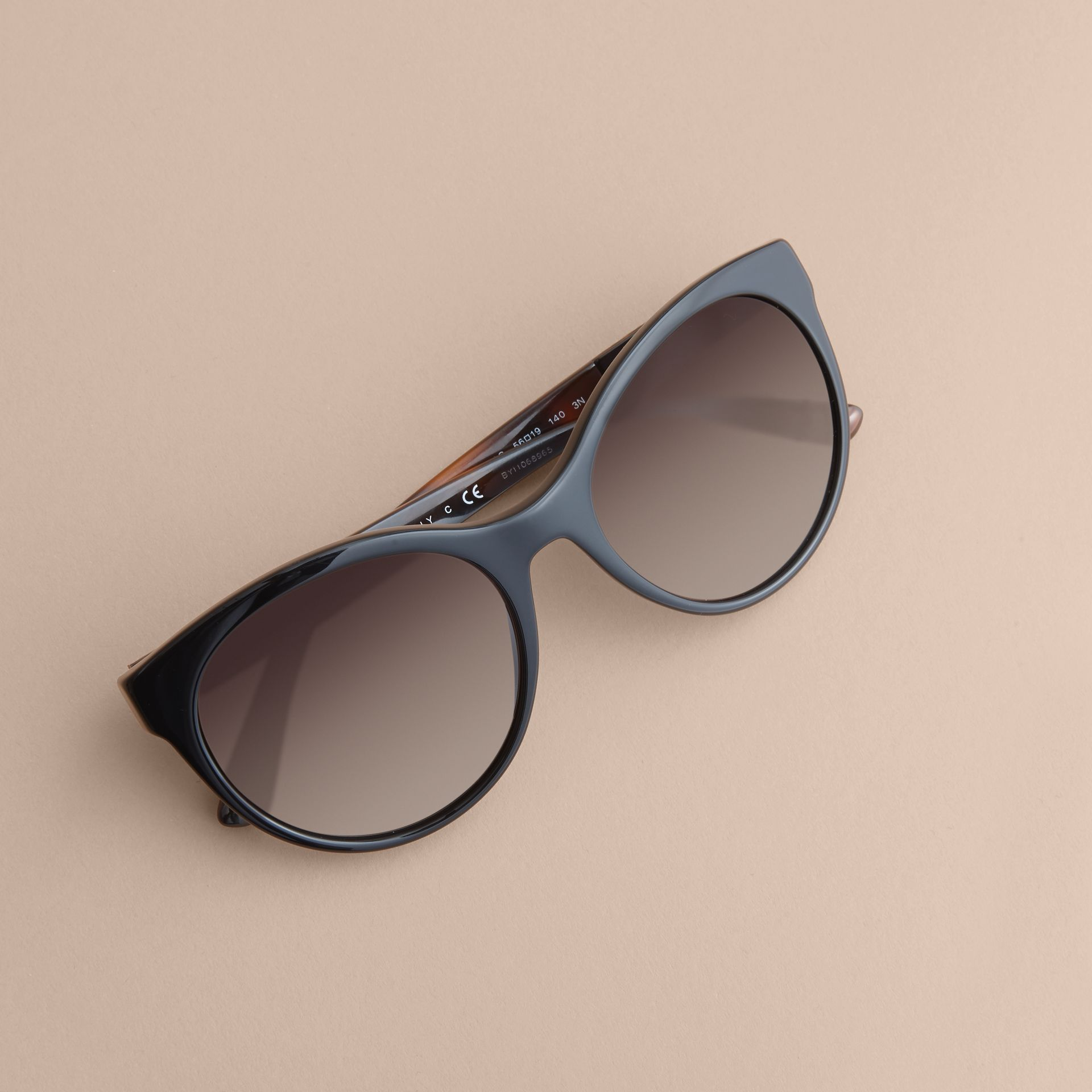 Check Detail Round Frame Sunglasses in Black - Women | Burberry Singapore - gallery image 3