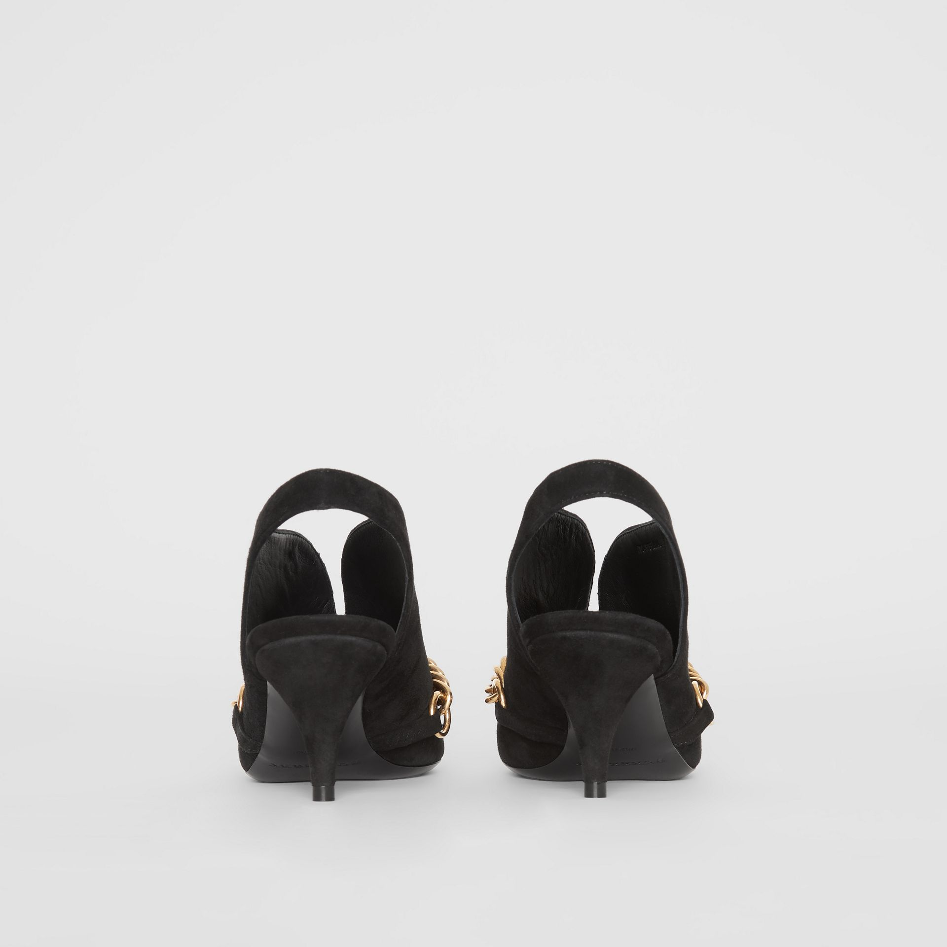 Link Detail Suede Slingback Pumps in Black - Women | Burberry United Kingdom - gallery image 4