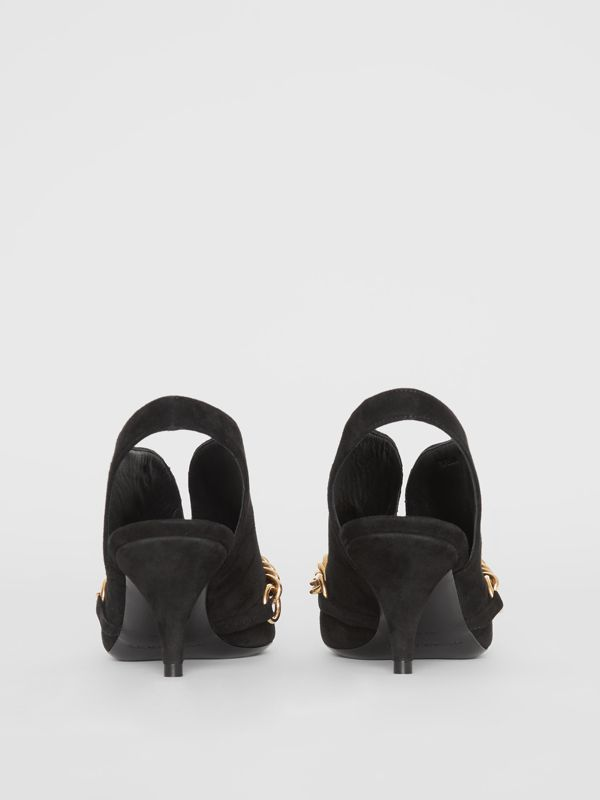 Link Detail Suede Slingback Pumps in Black - Women | Burberry - cell image 3
