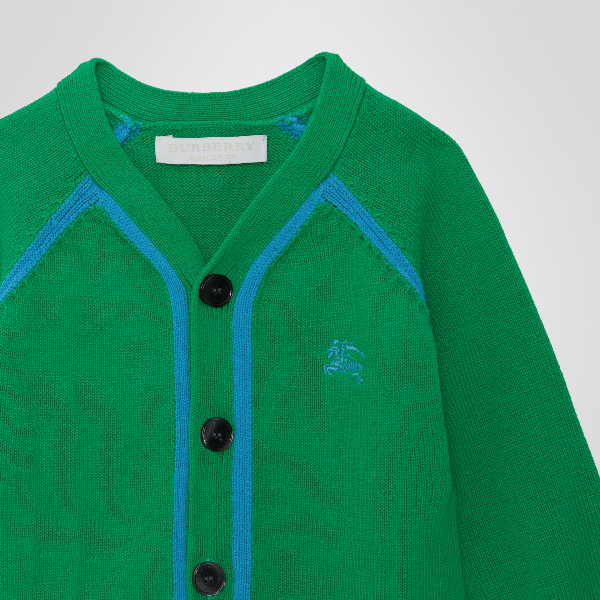 Two-tone Cotton Knit Cardigan in Bright Emerald - Children | Burberry United Kingdom - gallery image 4