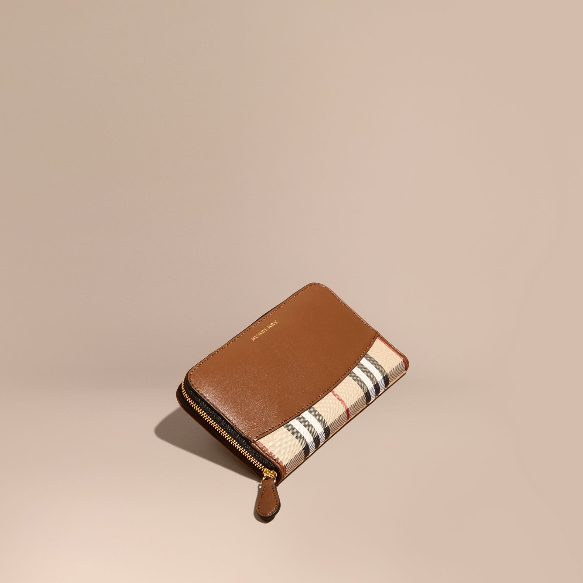 Tan Horseferry Check and Leather Ziparound Wallet Tan - gallery image 1
