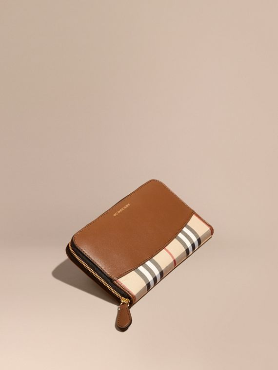 Horseferry Check and Leather Ziparound Wallet in Tan - Women | Burberry Singapore