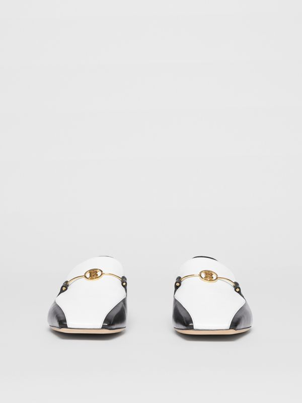 Monogram Motif Two-tone Leather Loafers in Black/white - Women | Burberry - cell image 3