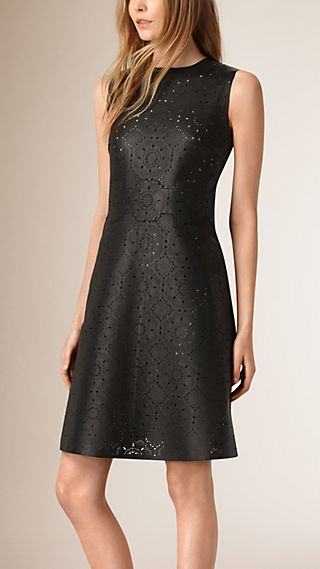 Laser-cut Lace Lambskin Shift Dress