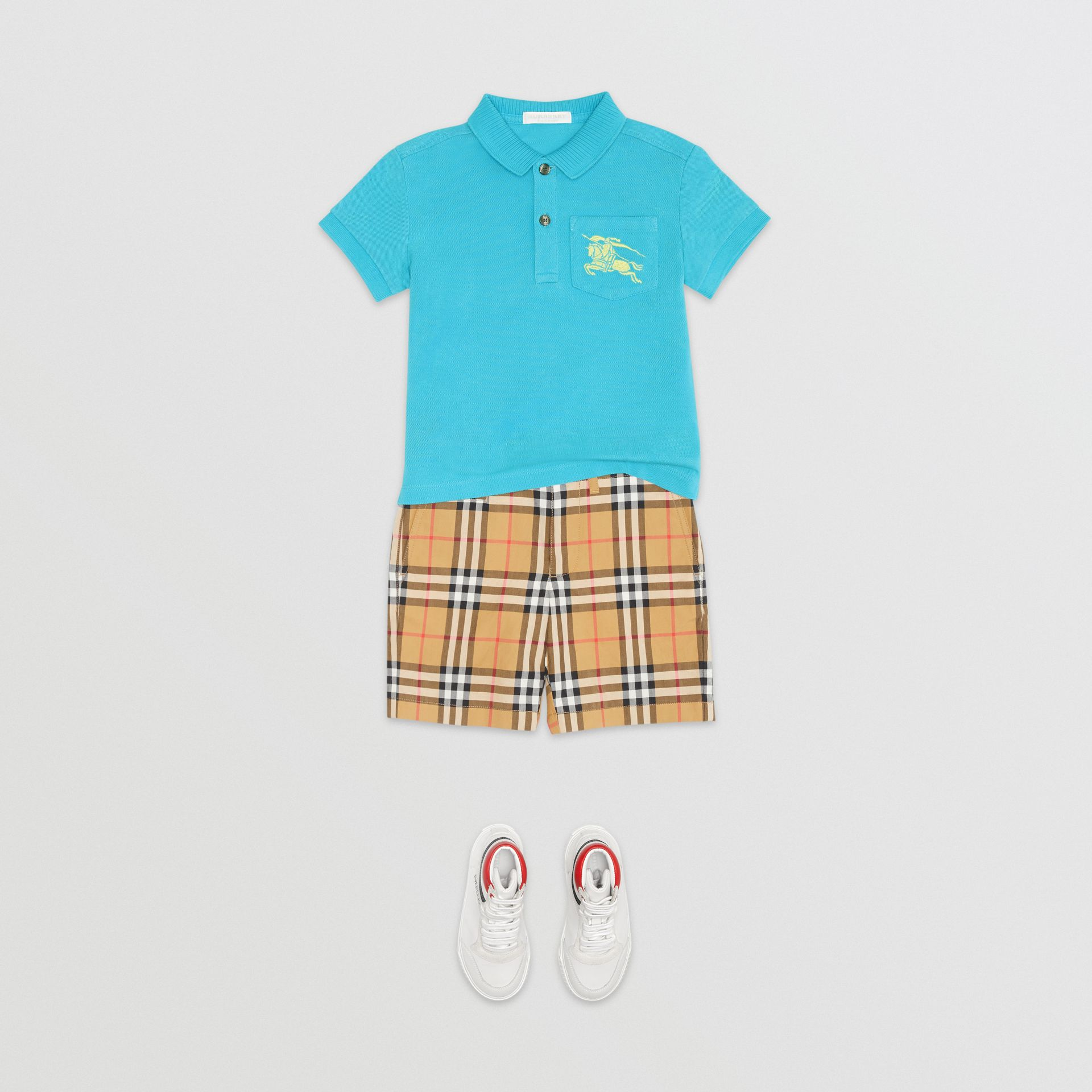 EKD Logo Cotton Piqué Polo Shirt in Bright Cyan Blue | Burberry - gallery image 2