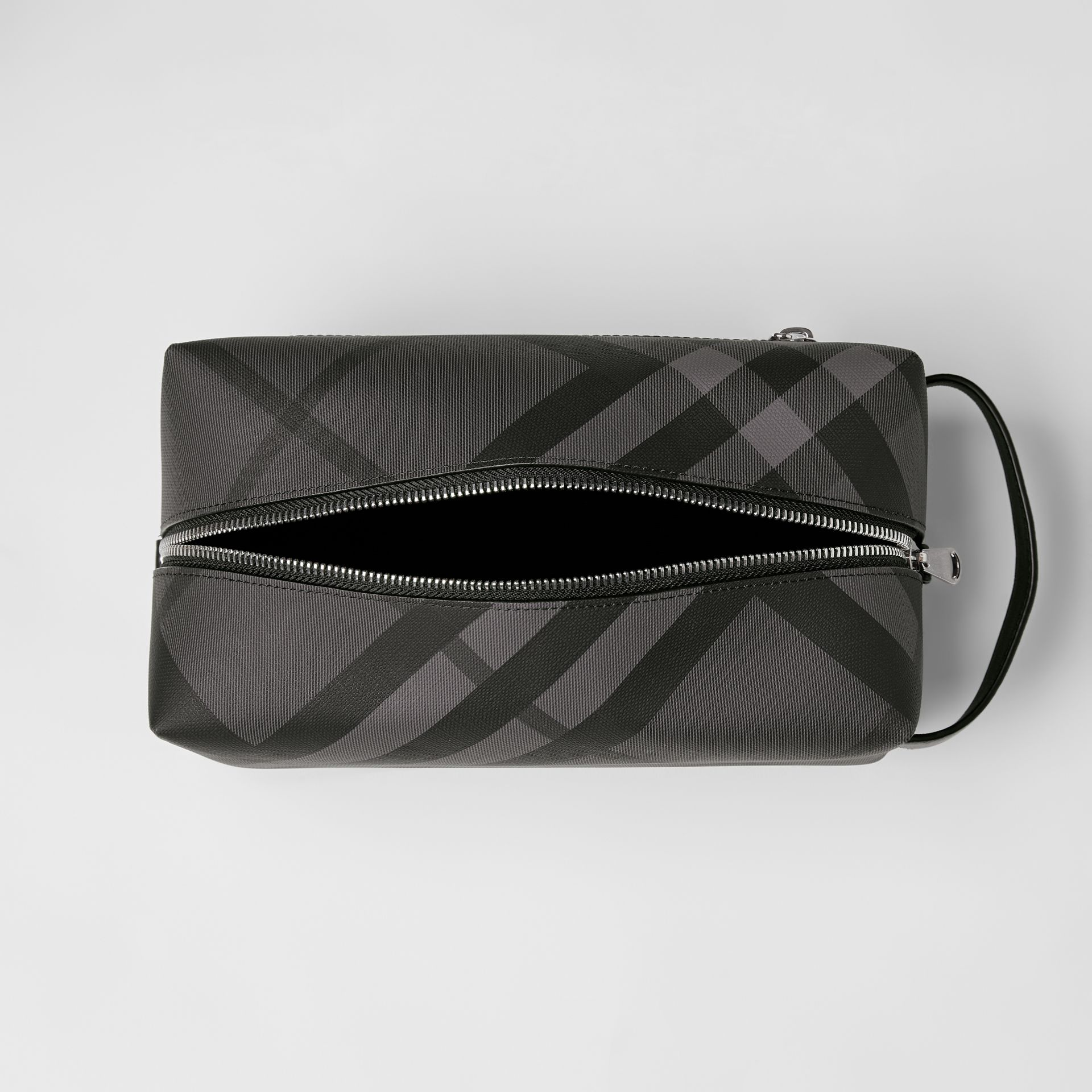 London Check and Leather Pouch in Charcoal/black - Men | Burberry Australia - gallery image 5