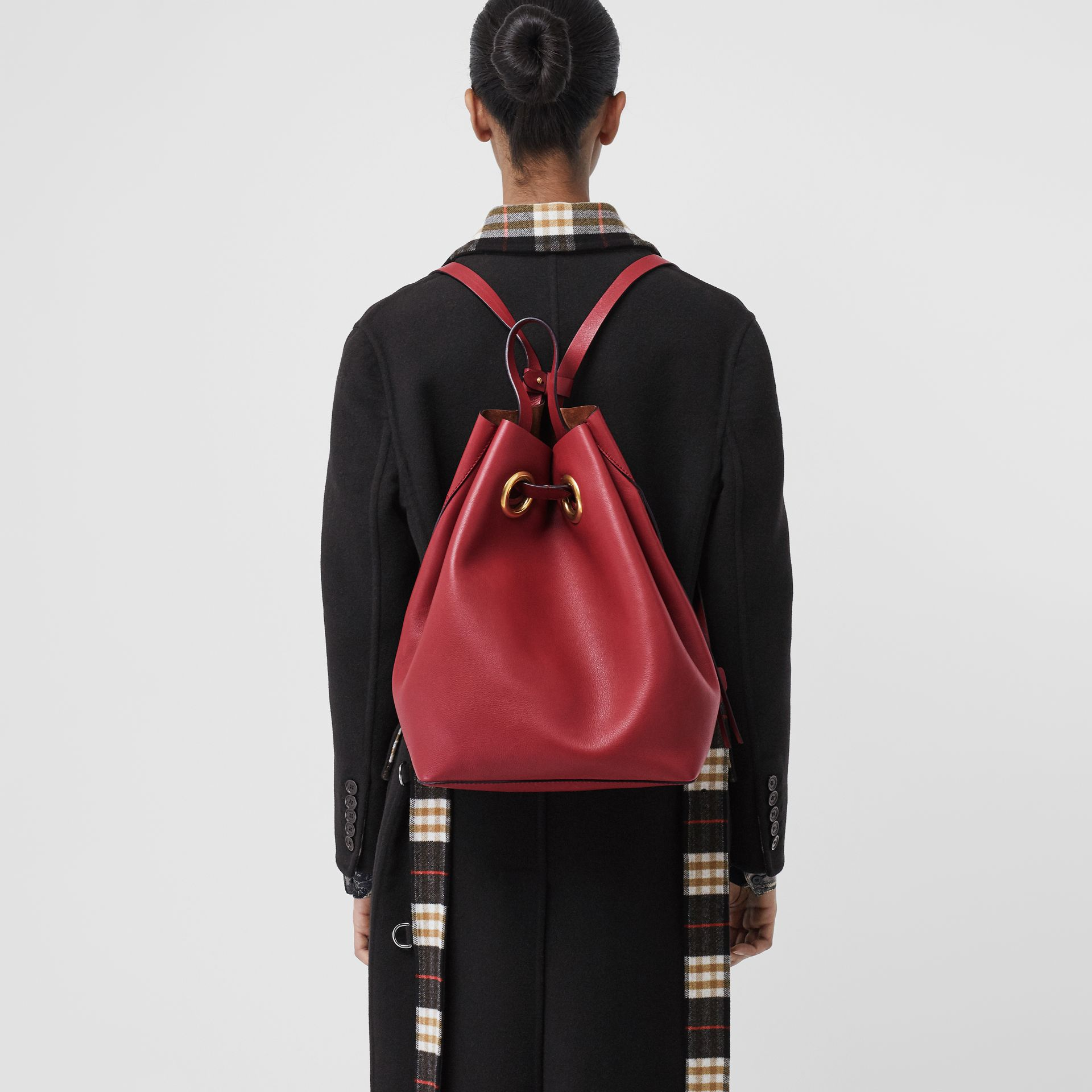 The Leather Grommet Detail Backpack in Crimson - Women | Burberry - gallery image 3