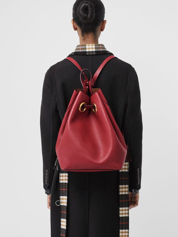 The Leather Grommet Detail Backpack in Crimson - Women | Burberry - cell image 3