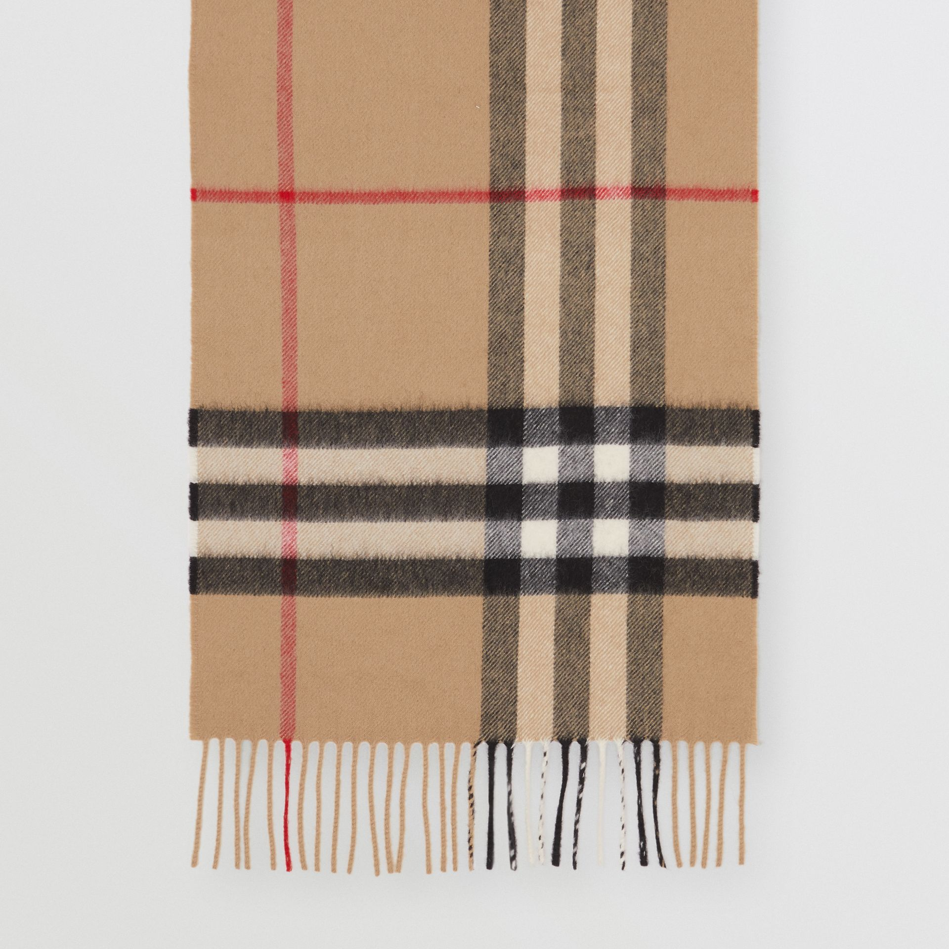 The Classic Check Cashmere Scarf in Archive Beige | Burberry United Kingdom - gallery image 4