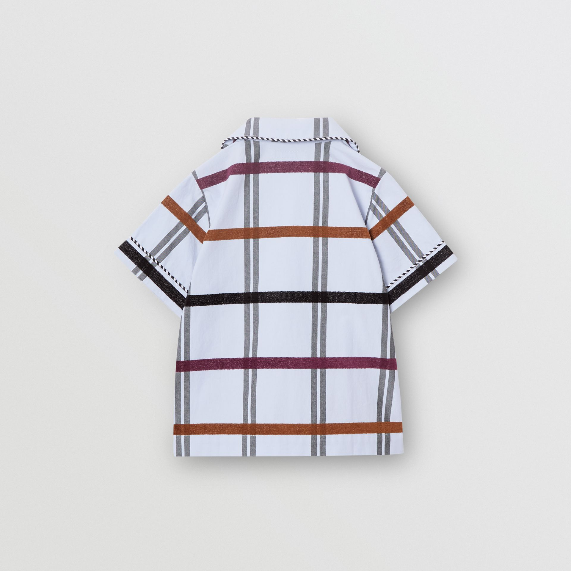 Short-sleeve Windowpane Check Cotton Shirt in Light Blue - Children | Burberry United Kingdom - gallery image 3
