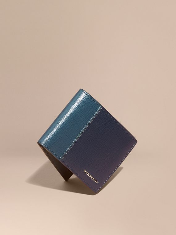 Panelled London Leather Folding Wallet Dark Navy/mineral Blue