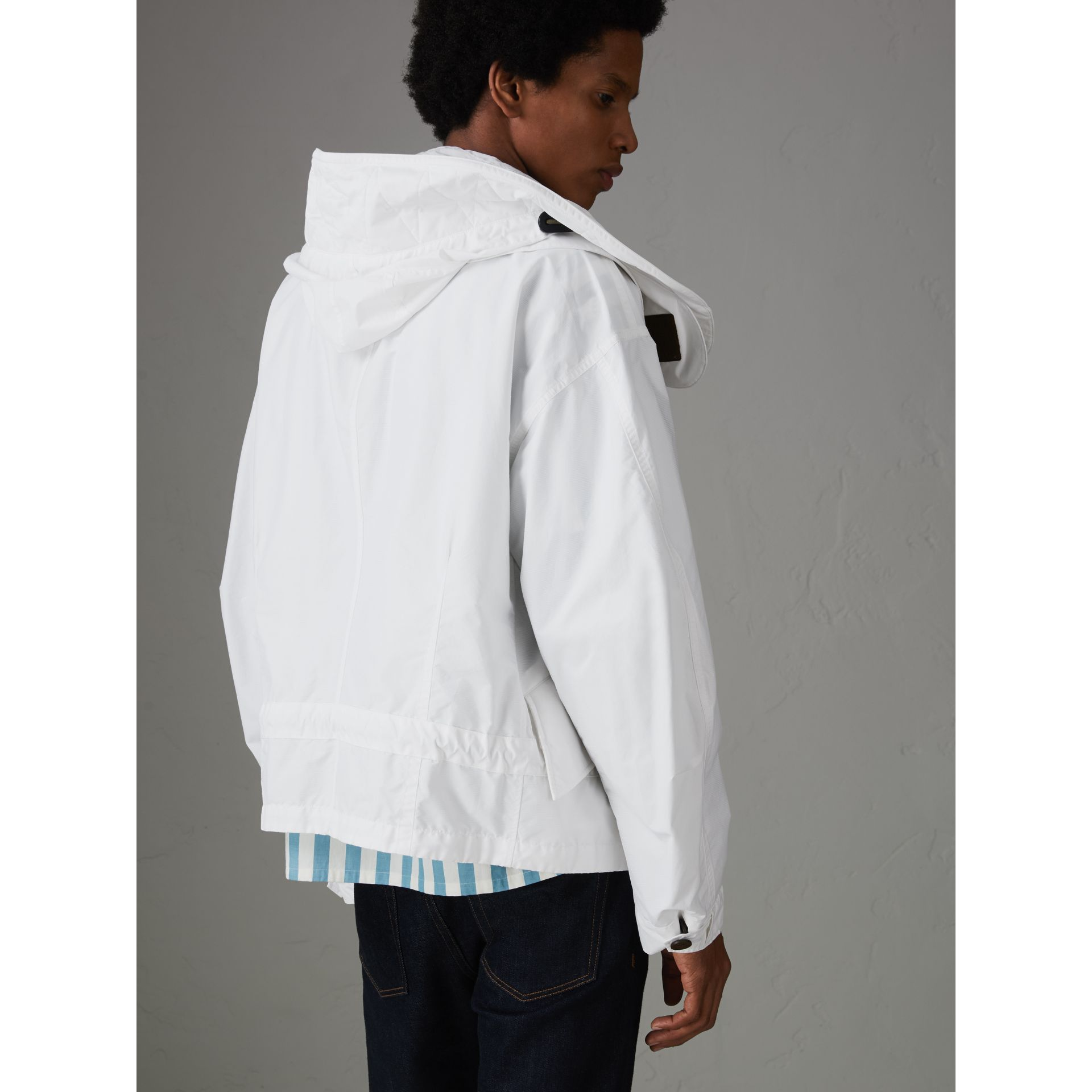 Detachable Hood Faille Jacket in White - Men | Burberry United States - gallery image 2
