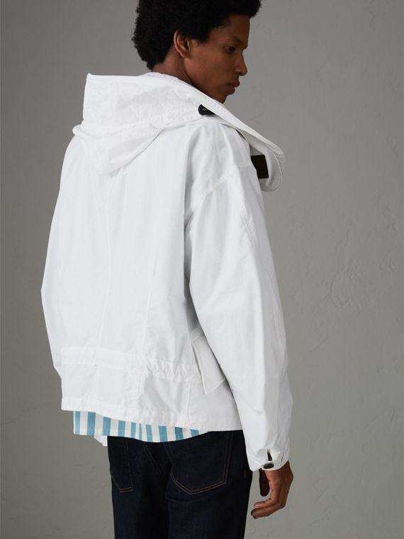 Detachable Hood Faille Jacket in White - Men | Burberry - cell image 2