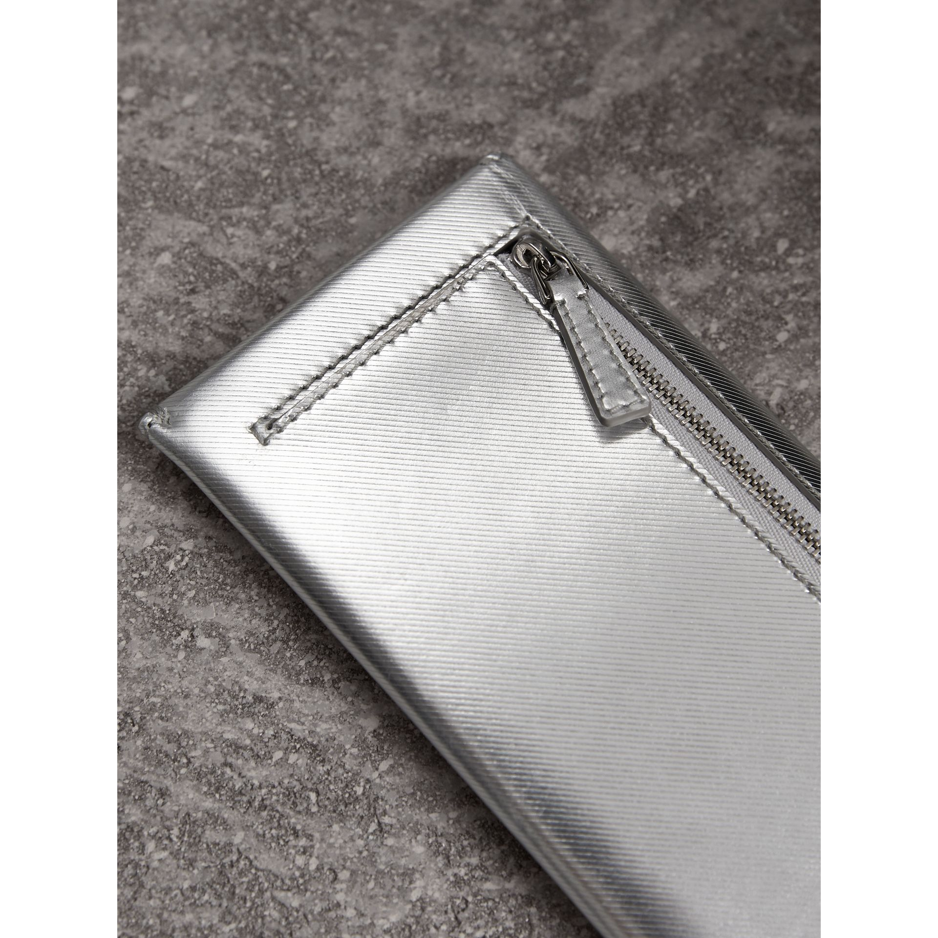 Metallic Trench Leather Envelope Wallet in Silver - Women | Burberry Australia - gallery image 2