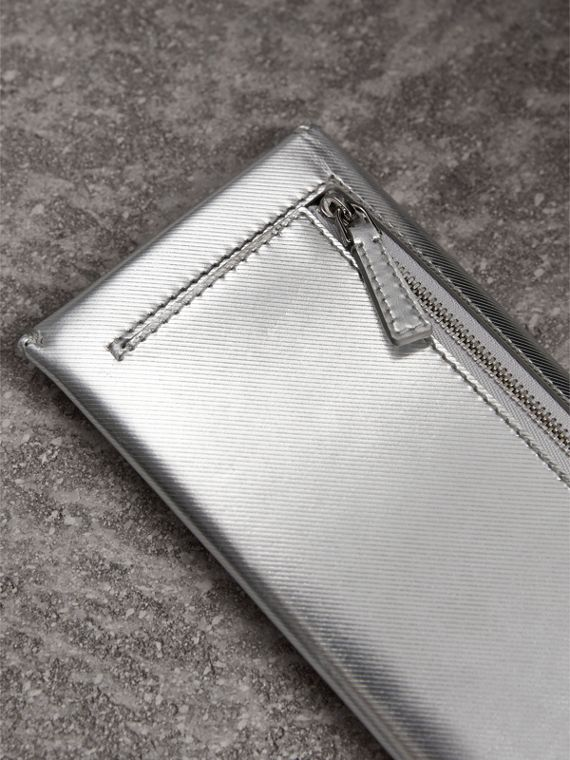 Metallic Trench Leather Envelope Wallet in Silver - Women | Burberry - cell image 2
