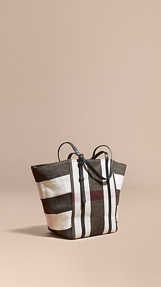 Striped Canvas Tote with Leather Trim