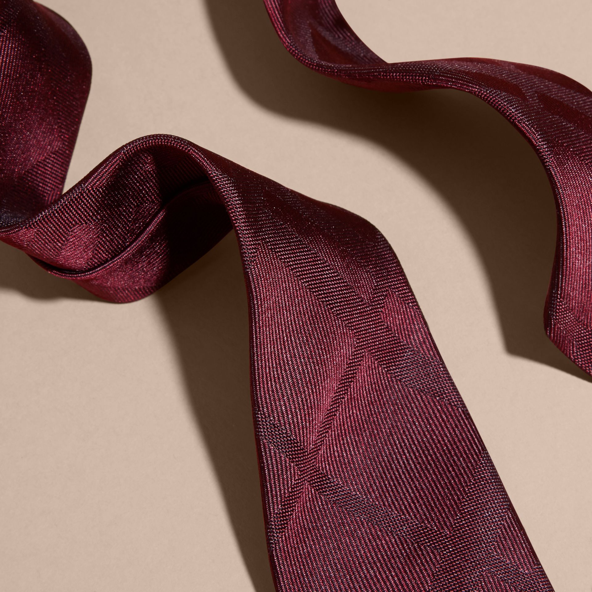 Slim Cut Check Silk Tie in Deep Claret - gallery image 2