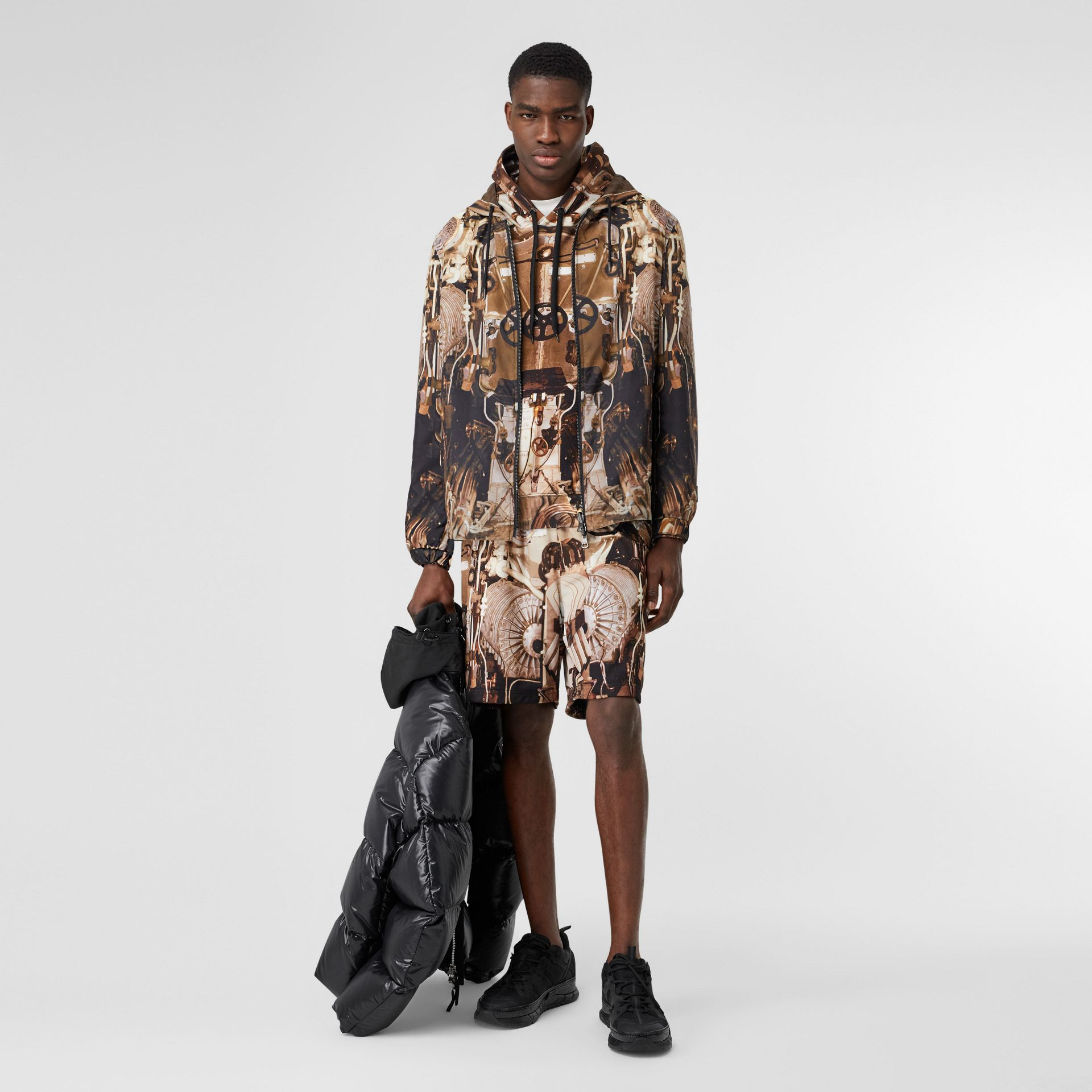 Reversible Submarine Print Nylon Hooded Jacket in Bronze - Men | Burberry - gallery image 0