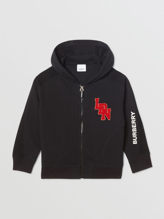 Logo Graphic Cotton Hooded Top in Black