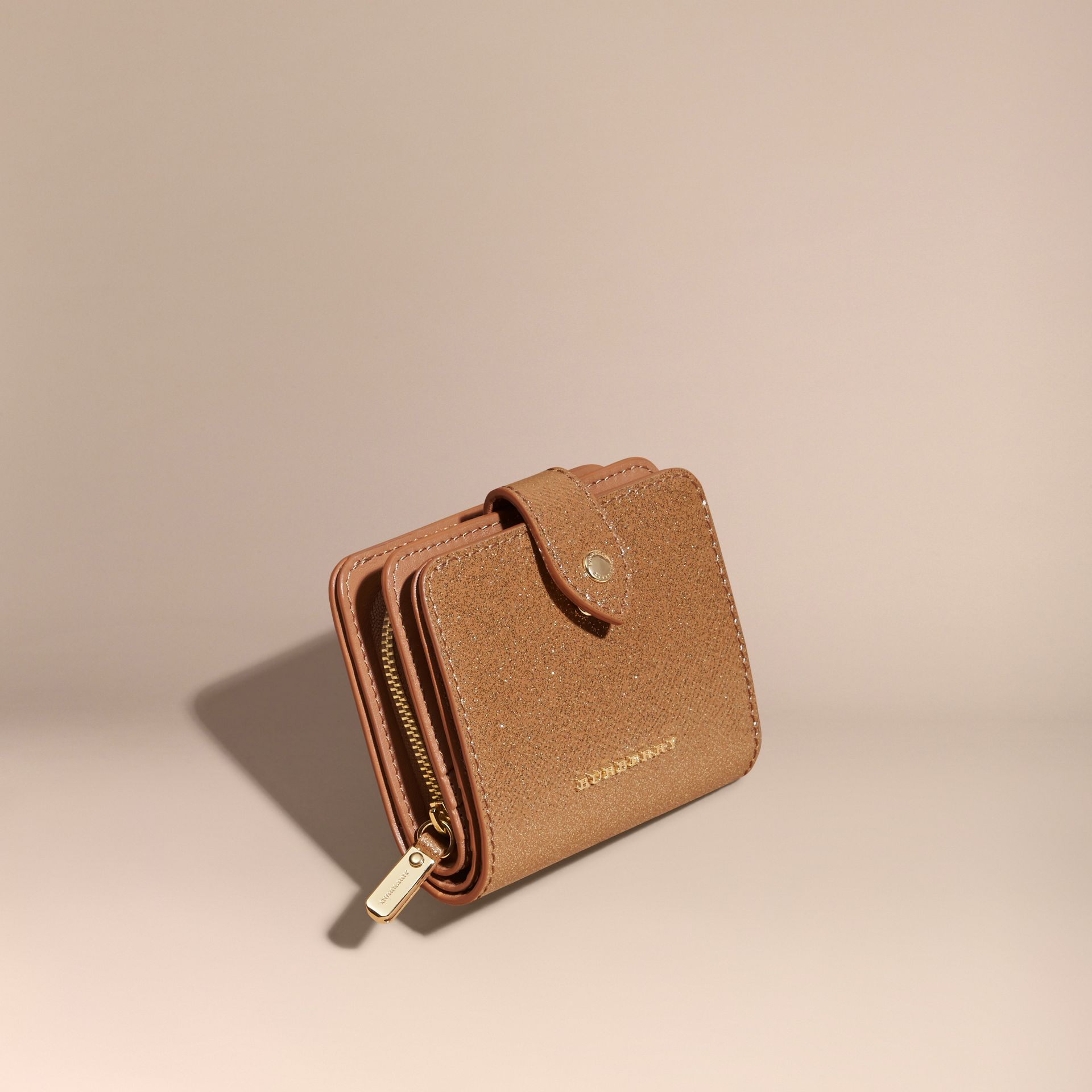 Glitter Patent London Leather Wallet in Camel / Gold - gallery image 1
