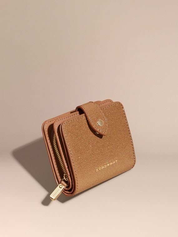 Glitter Patent London Leather Wallet Camel / Gold
