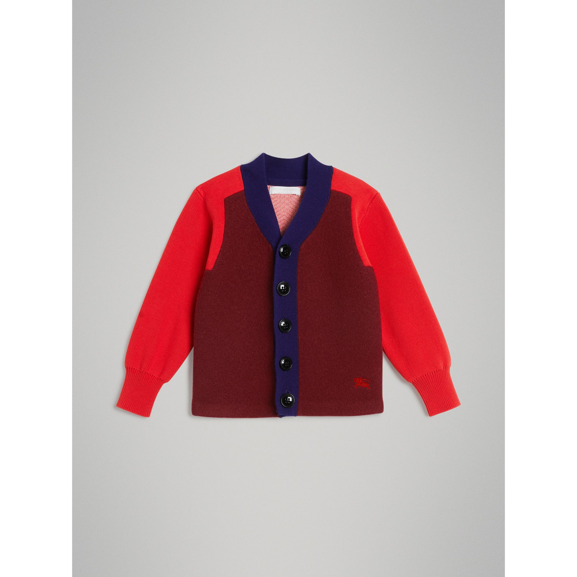 Colour Block Merino Wool Blend Cardigan in Burgundy - Boy | Burberry - gallery image 0