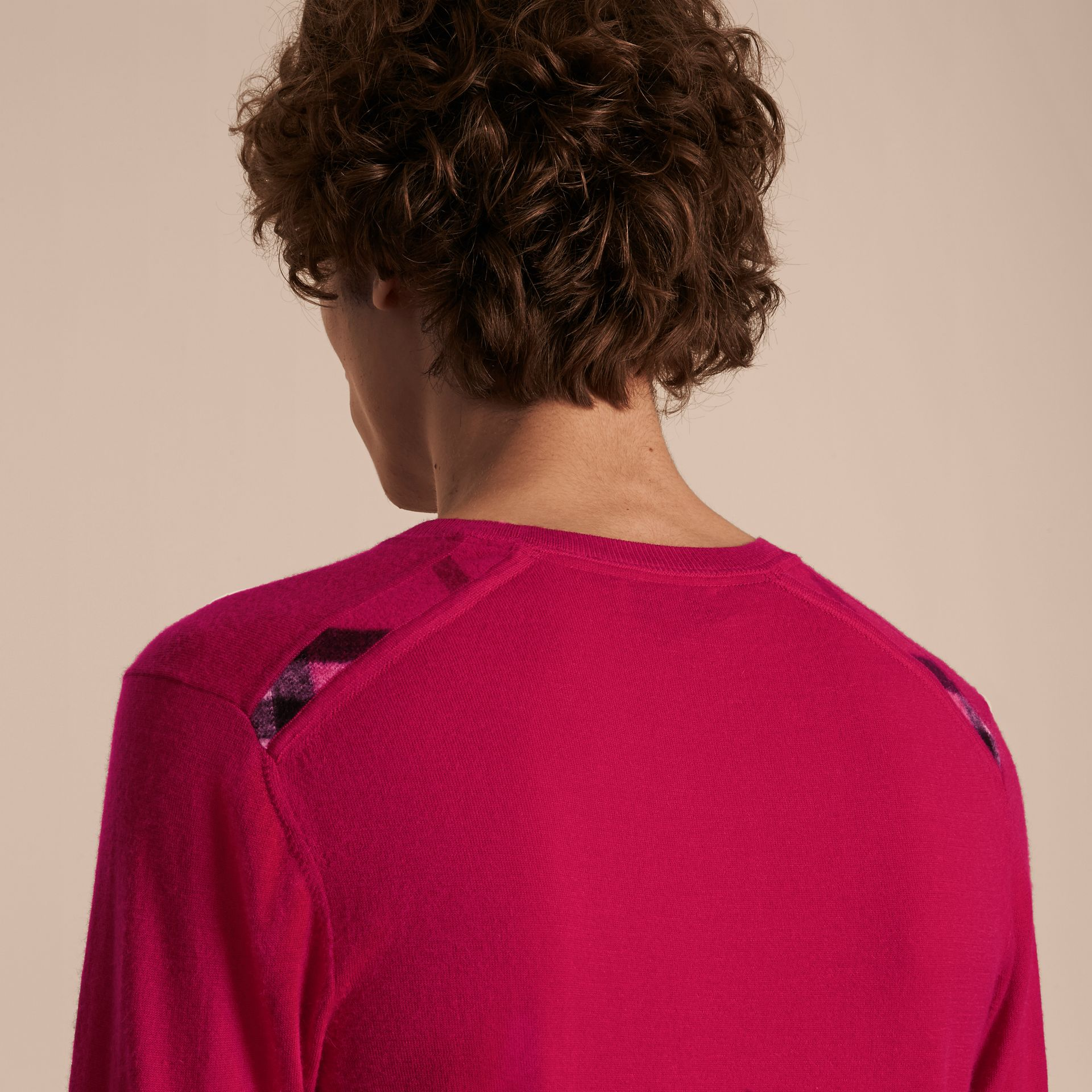 Bright pink Lightweight Crew Neck Cashmere Sweater with Check Trim Bright Pink - gallery image 5