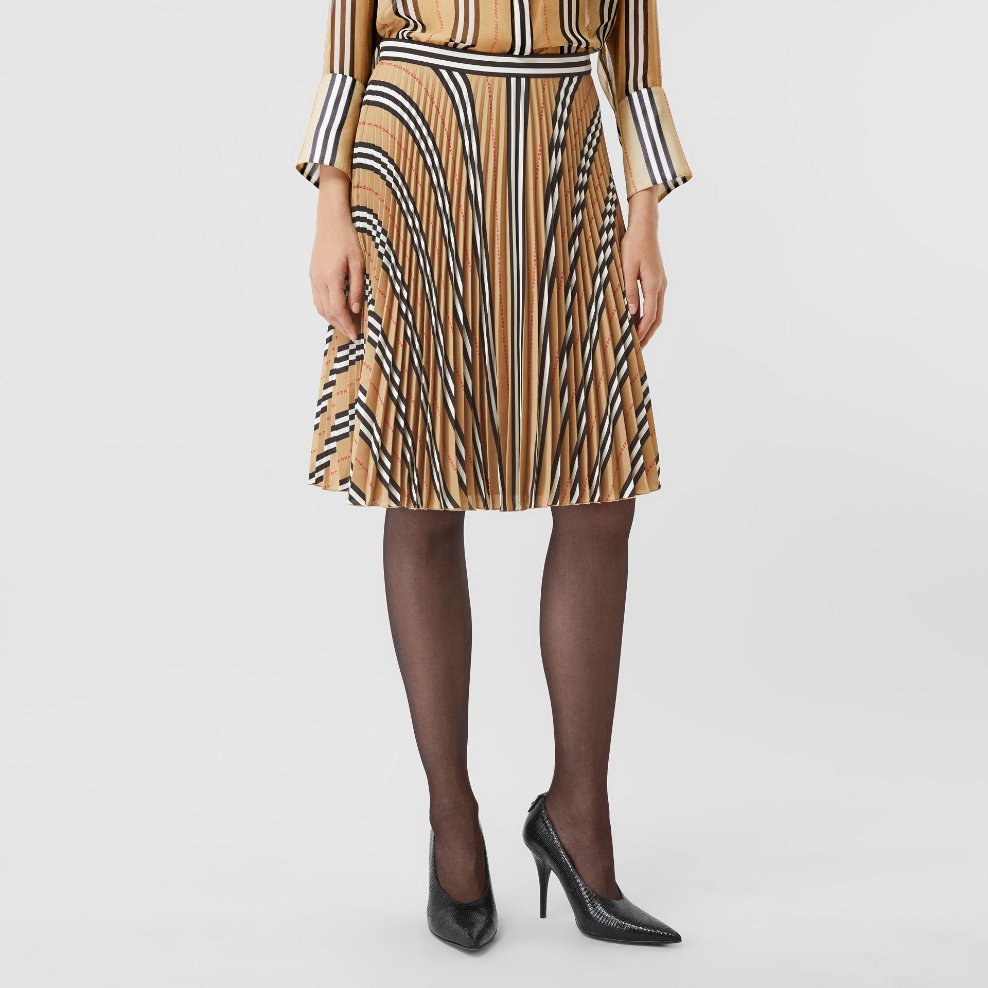 Logo and Stripe Print Crepe Pleated Skirt in Archive Beige - Women | Burberry Canada - gallery image 4