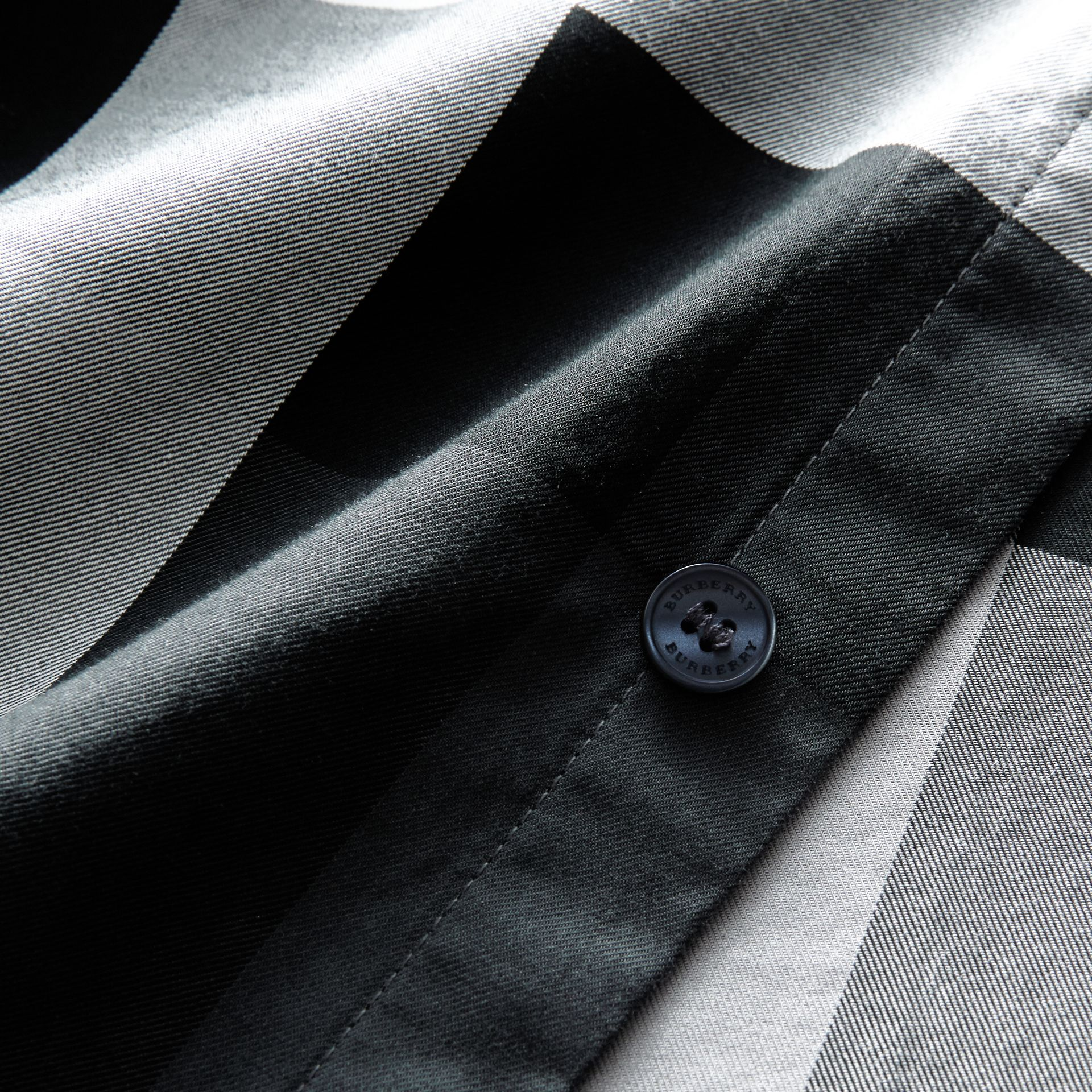 Button-down Collar Short-sleeve Check Cotton Shirt in Light Grey - Men | Burberry - gallery image 2