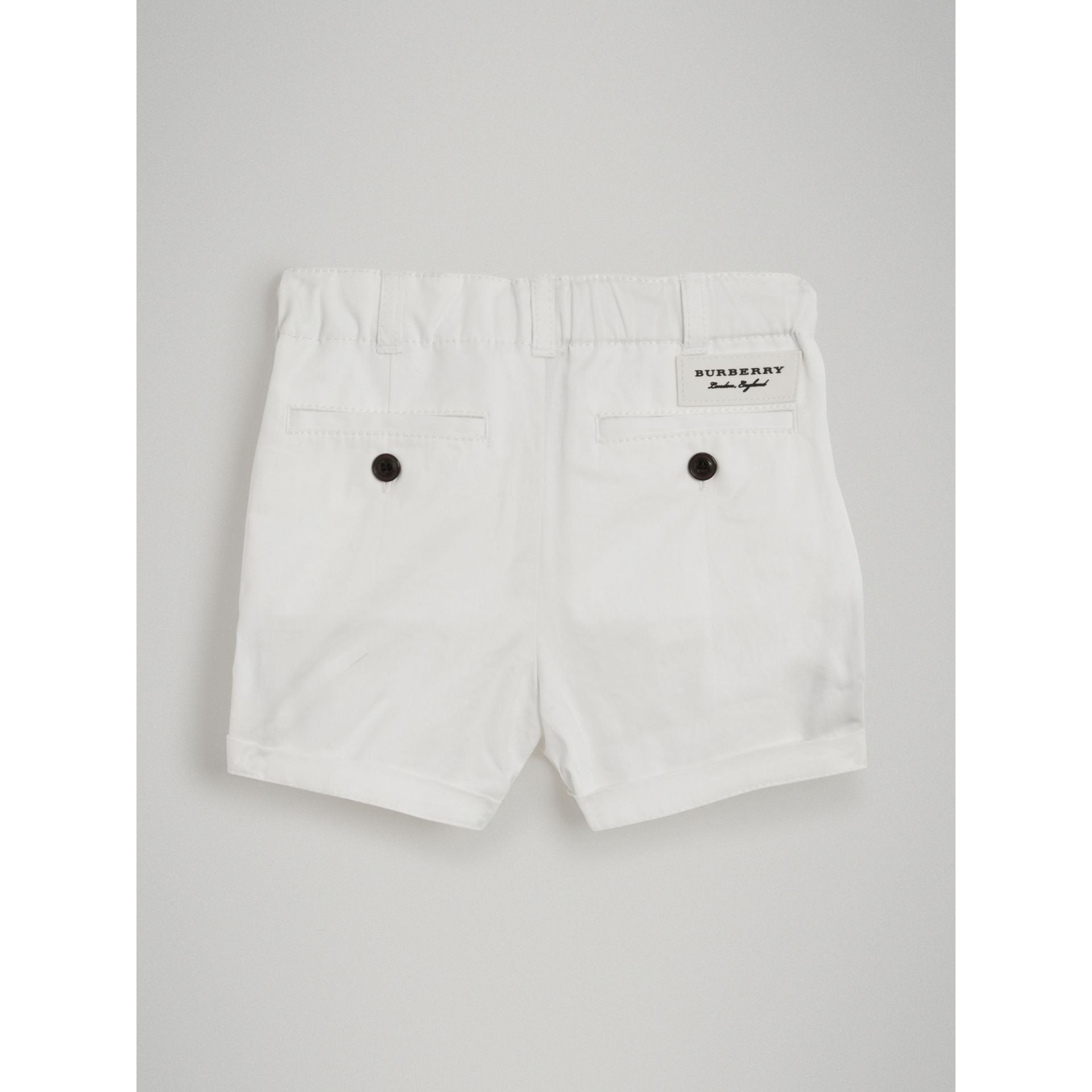 Cotton Twill Chino Shorts in White - Children | Burberry - gallery image 3