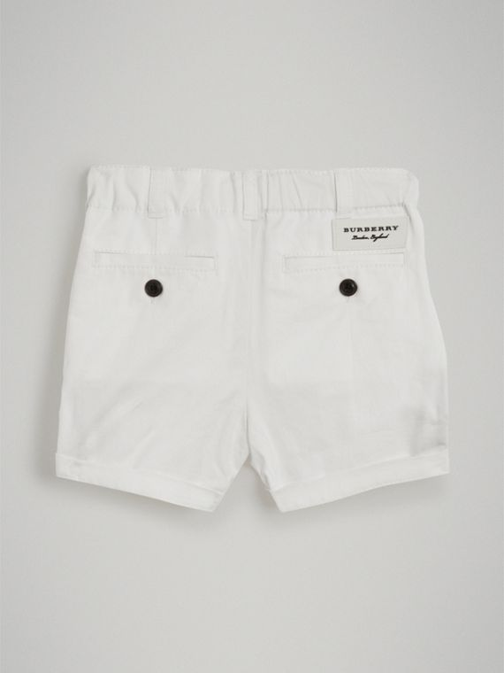 Cotton Twill Chino Shorts in White | Burberry United Kingdom - cell image 3