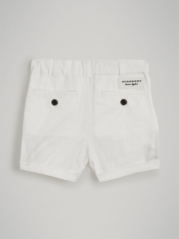 Cotton Twill Chino Shorts in White - Children | Burberry - cell image 3