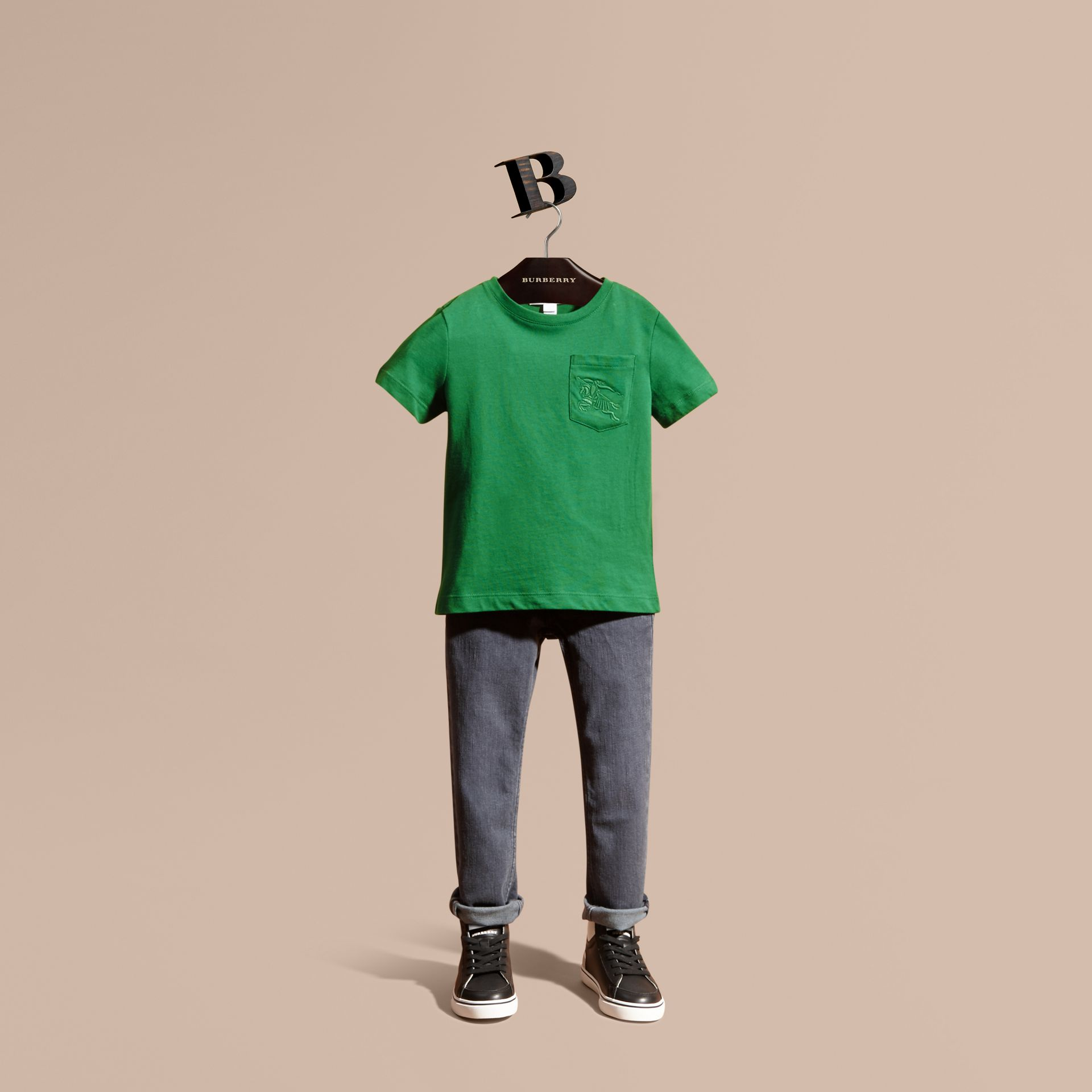 Crew Neck Cotton T-shirt in Bright Pigment Green - gallery image 1