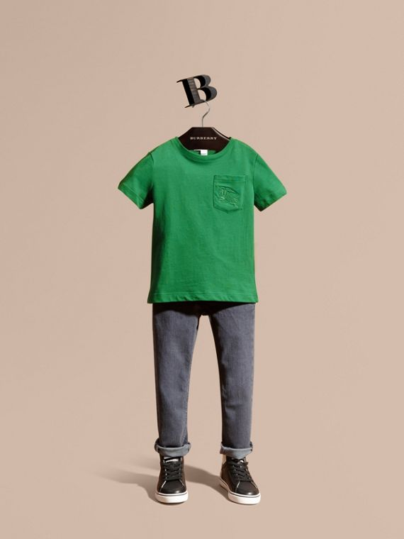 Crew Neck Cotton T-shirt Bright Pigment Green