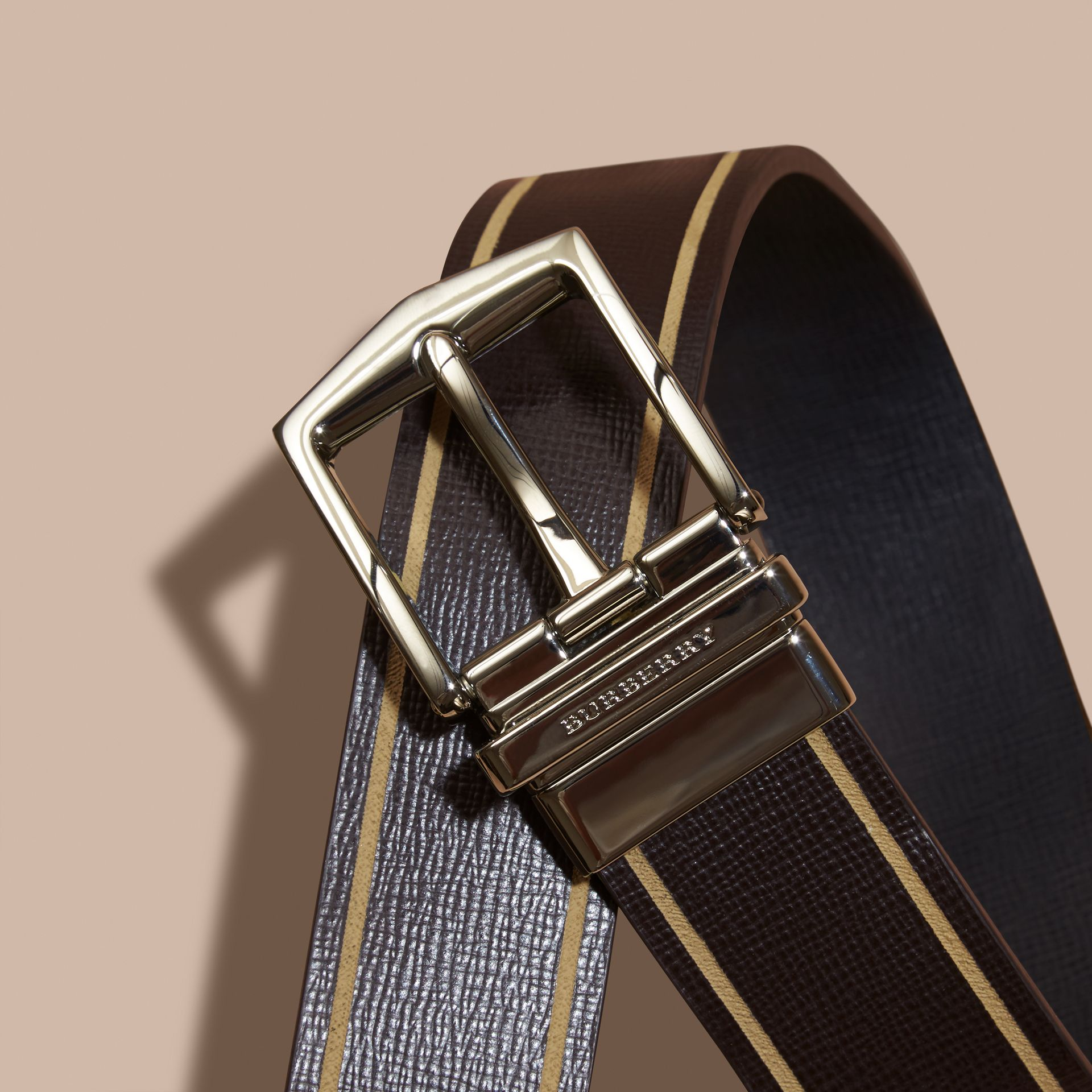 Reversible Border Detail London Leather Belt Peppercorn/black - gallery image 2