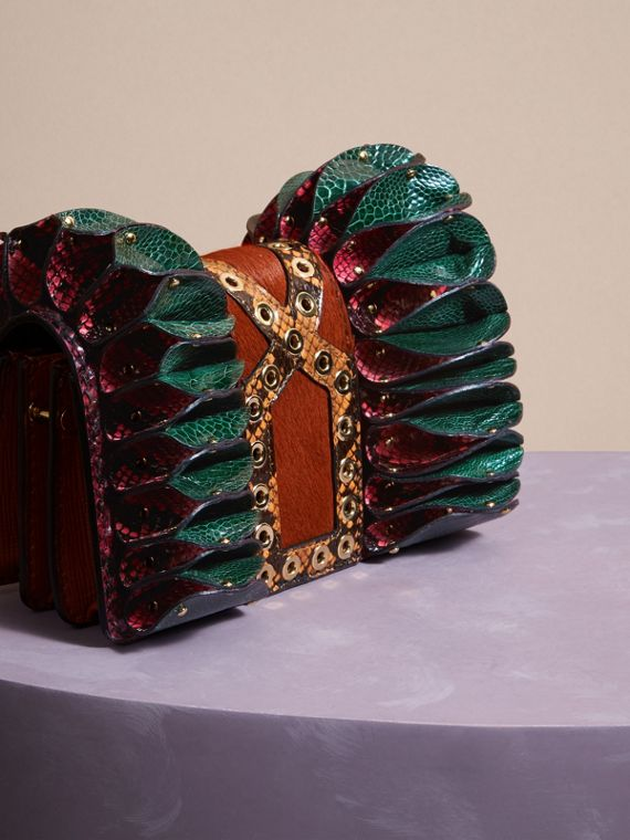 The Ruffle Buckle Bag in Snakeskin, Ostrich and Calfskin - cell image 3