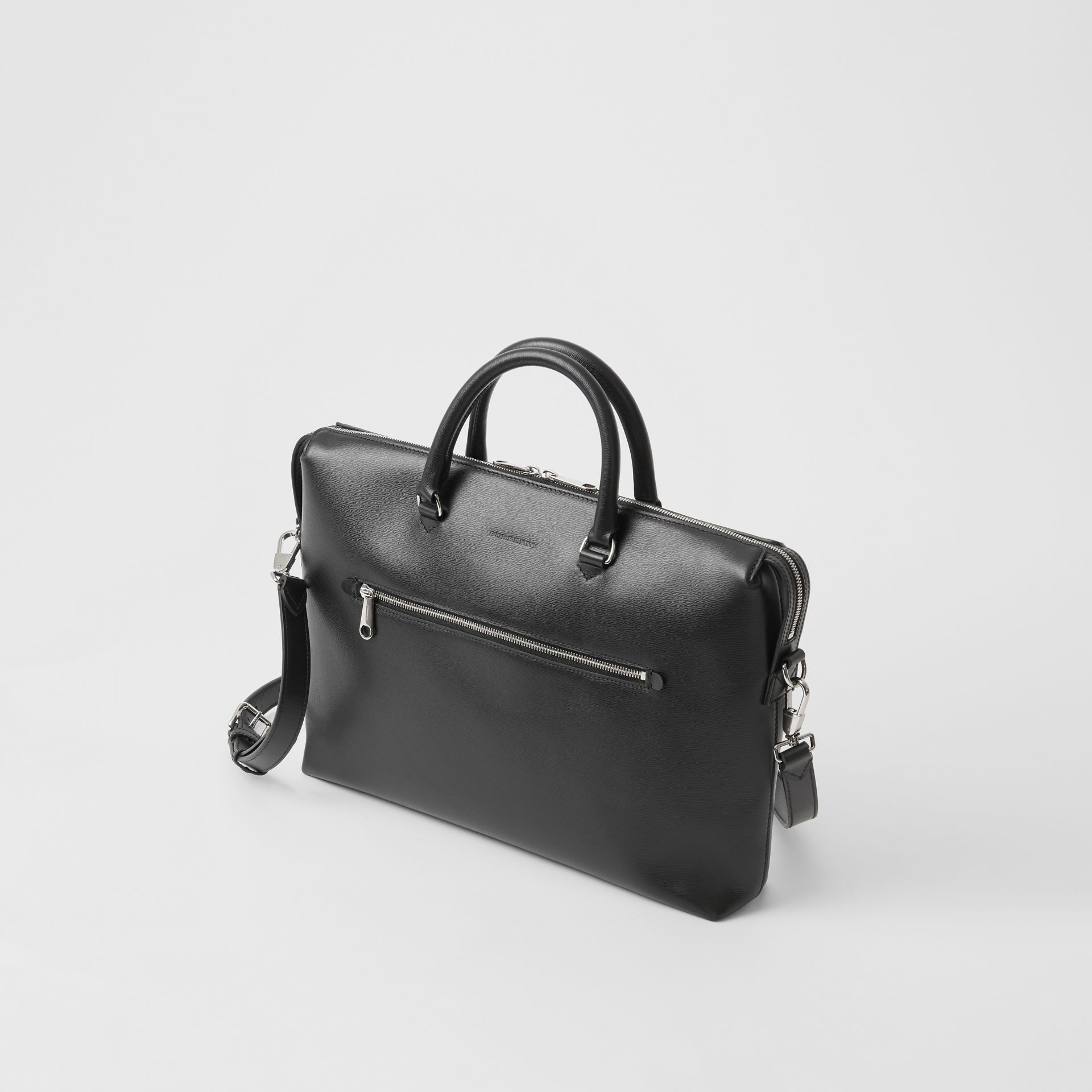 Large Textured Leather Briefcase in Black - Men | Burberry - gallery image 4