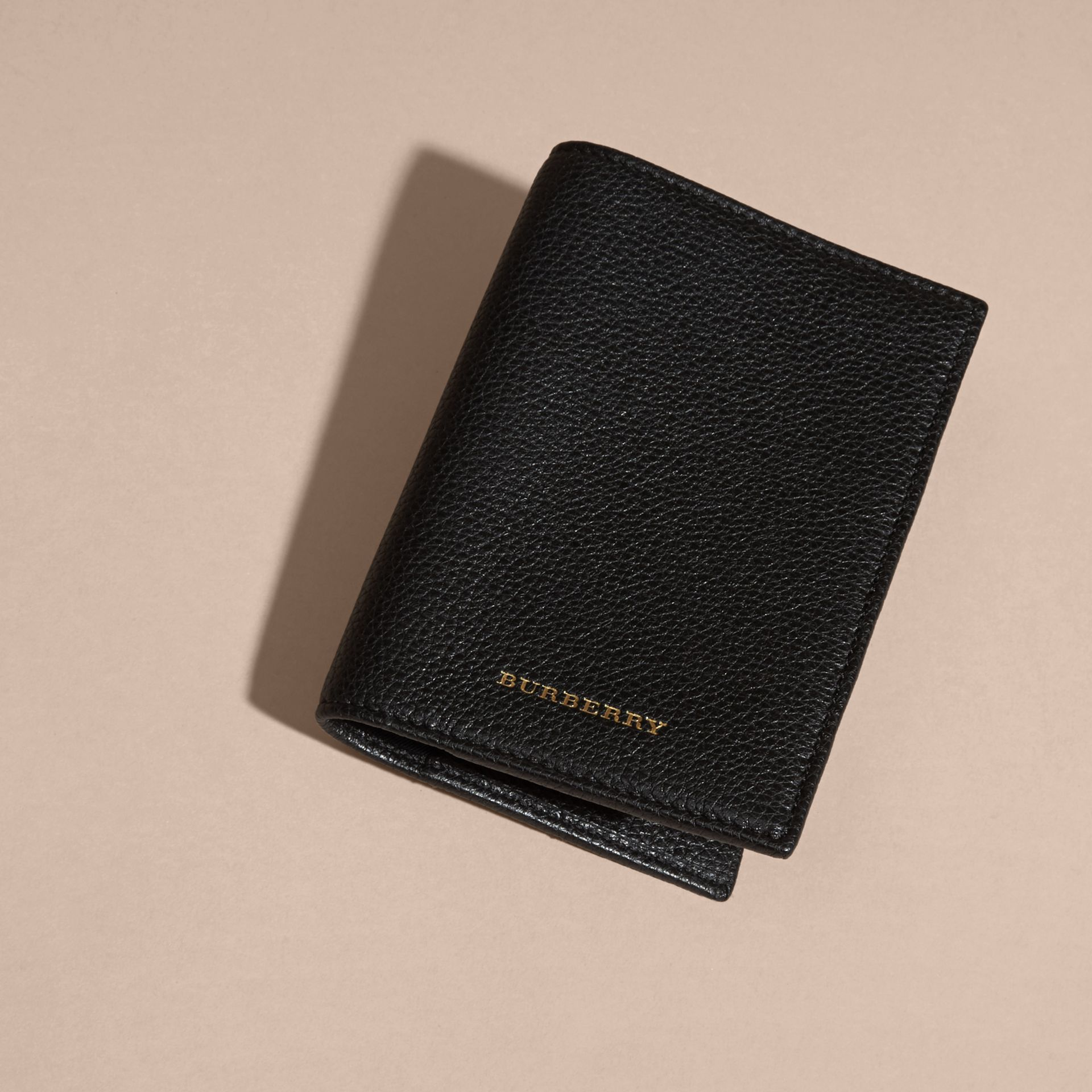 Black Grainy Leather Passport and Card Holder Black - gallery image 3