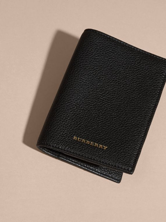 Black Grainy Leather Passport and Card Holder Black - cell image 2