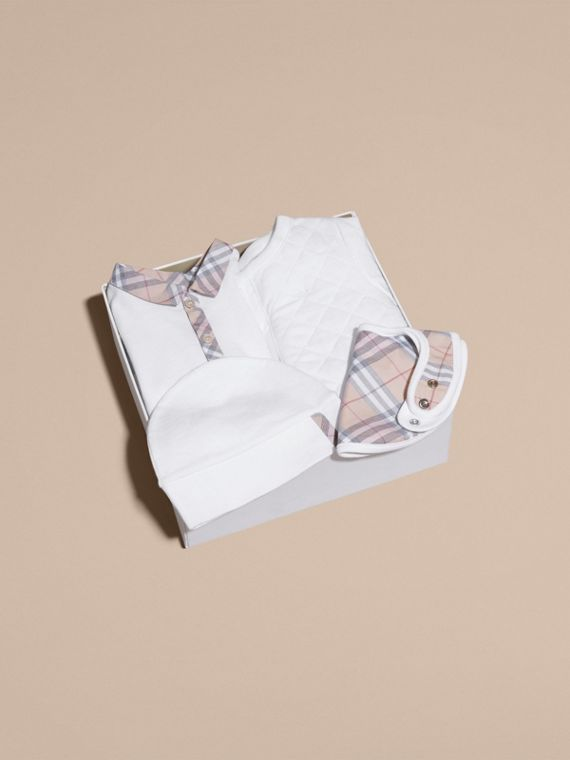 Check Detail Four-piece Baby Gift Set in White | Burberry - cell image 3