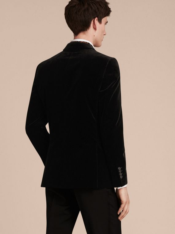 Black Slim Fit Tailored Velvet Jacket - cell image 2