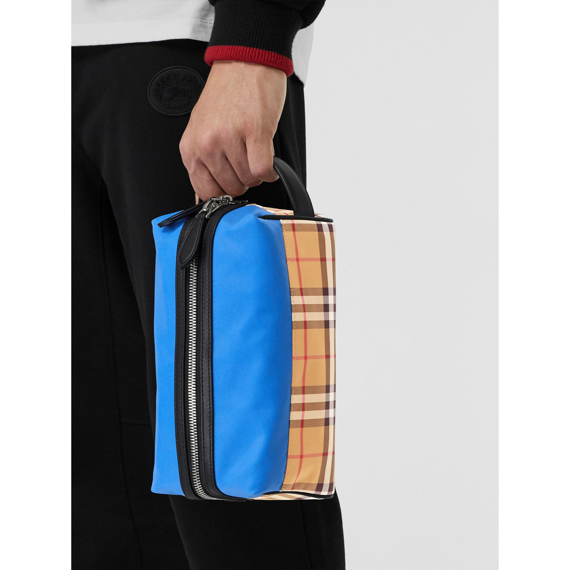 Vintage Check and Colour Block Pouch in Blue/vintage - Men | Burberry United States - gallery image 5