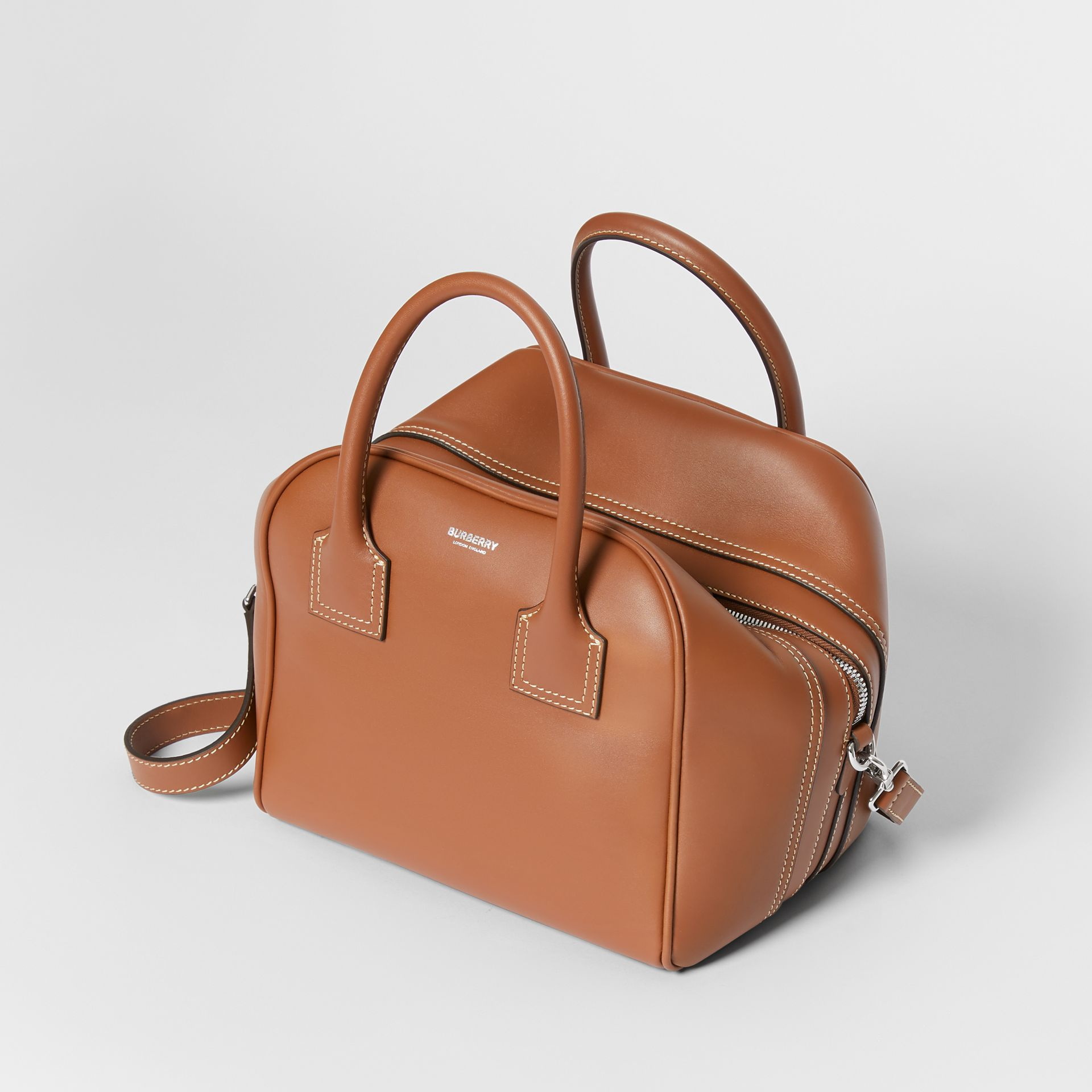 Small Leather Cube Bag in Malt Brown - Women | Burberry - gallery image 3