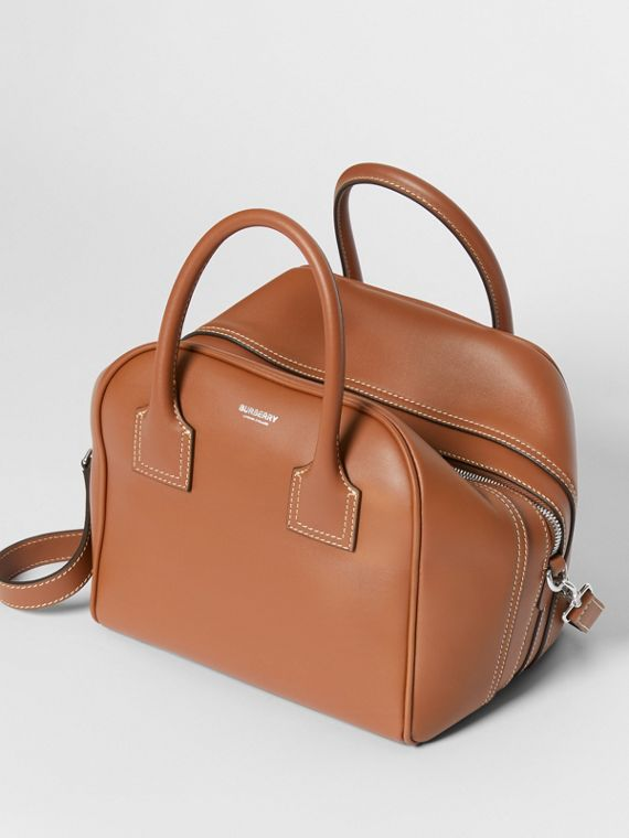 Small Leather Cube Bag in Malt Brown