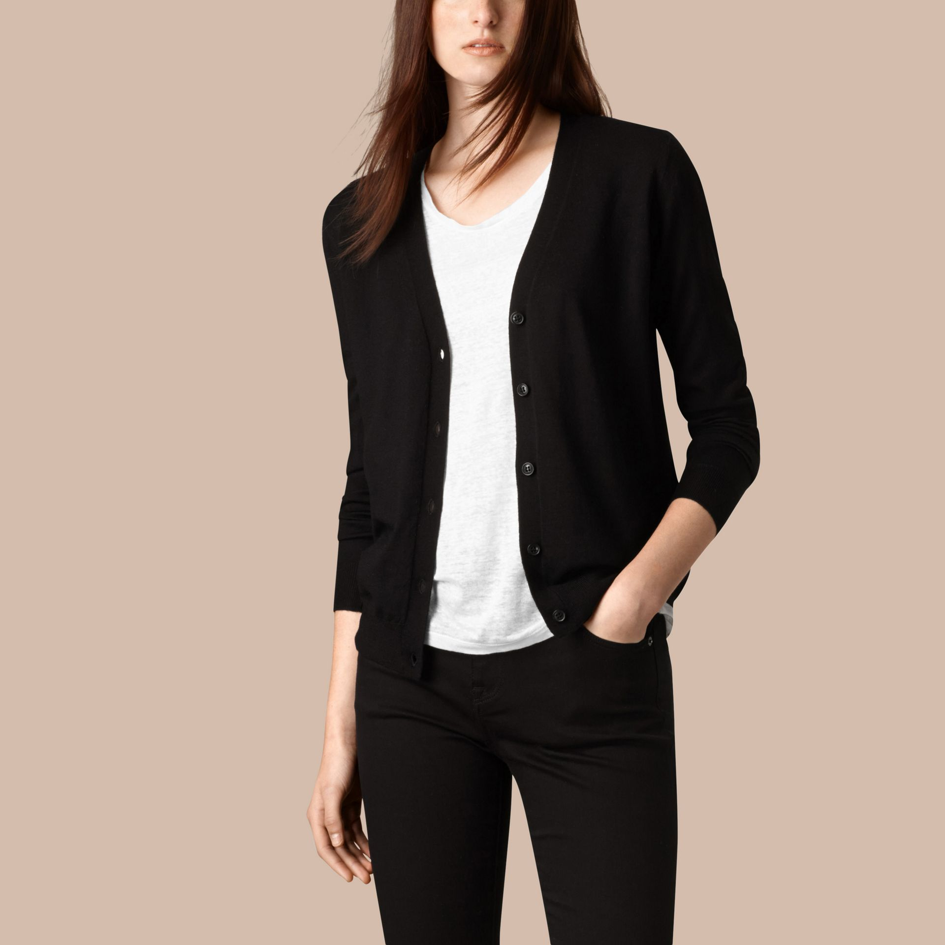Check Detail Merino Wool Cardigan in Black - gallery image 4